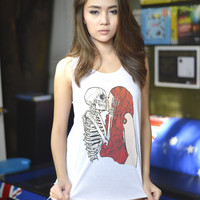 Skull Kiss Graphic Loose Tank