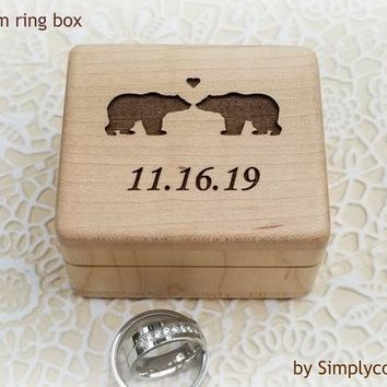 Proposal Ring Box - Wedding Ring Box - Ring Bearer Box - Wood Ring Box with love bears engraved on the top, custom ring box