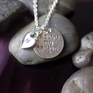 SALE - You're My Person Necklace - Personalized Initial Jewelry - Grey's Anatomy Inspired - Love Best Friend - Mothers Day Gift