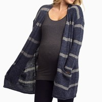 Navy-Striped-Oversized-Knit-Maternity-Cardigan