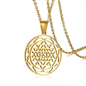 Sri Yantra Meditation Pendants Necklace Large Round 3rd Eye Hindu Goddess Yoga SriYantra Wiccan Pagan Stainless Steel Jewelry