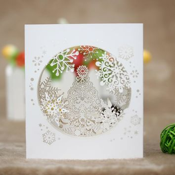 1Pc New Stylish Handmade 3D Pop Up Tree Box Snowflake Greeting Card Gift Holiday Merry Christmas Gift Party Supplies