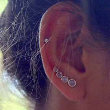 Moonstone Ear Crawlers - Sterling Silver Earrings - Ear Climbers
