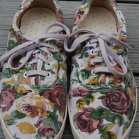 Vintage 80s Romantic Floral Keds Style Tennis Shoes Sneakers Size 6
