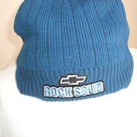 """Chevy """"Rock Solid"""" Blue Ribbed Knit Beanie Hat, new w/tags"""