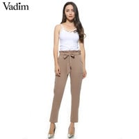 women OL chiffon high waist harem pants bow tie drawstring sweet elastic waist pockets casual trousers pantalones ZC047