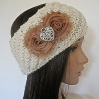 Ivory Knit Ear Warmer Headband Head Wrap withToffee Brown Chiffon Flowers and a Silver Rhinestone Heart Accent