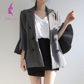 Milwaukee Formal Office Women Coat High Quality Flare Sleeve Turn-down Collar Autumn Fashion Solid Jackets Coat Outwear
