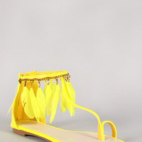 Dream-6 Neon Feather Trim Toe Strap Flat Sandal