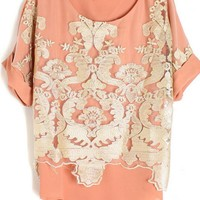 Gold Thread Embroidery Chiffon Tshirts for Women
