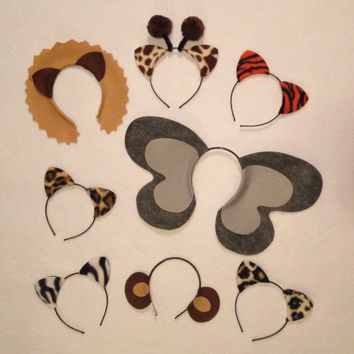 8 Jungle safari zoo animals theme ears headband birthday party favor costume lion elephant monkey zebra tiger leopard giraffe kid adult baby