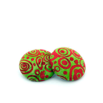 Batik Fabric Button Earrings // Red and Green Swirl Earrings // Christmas Earrings // Gifts under 25