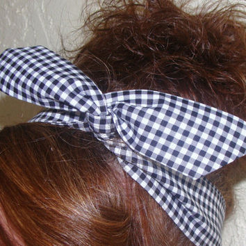 Dolly Bow, Black Gingham Rockabilly Wire Headband Pin Up 50s Hair Teen Woman