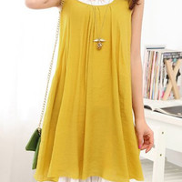 Yellow Sleeveless Flouncing Dress