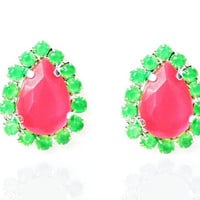 Neon Pink with Neon Green Pave Crystal Teardrop Earrings, Pink earrings, green earrings, Hot Pink earrings
