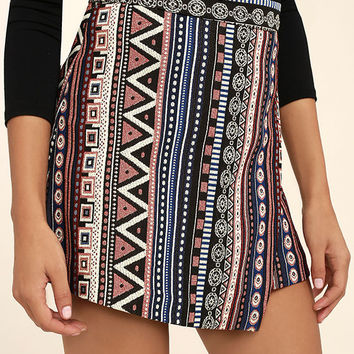 Hold that Thought Black Print Mini Skirt
