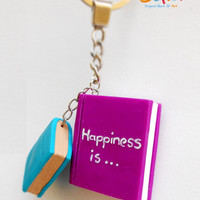 Happiness is reading - Happiness is books - Purple book and a turquoise diary - Miniature polymer clay books - Books key chain - Selsal