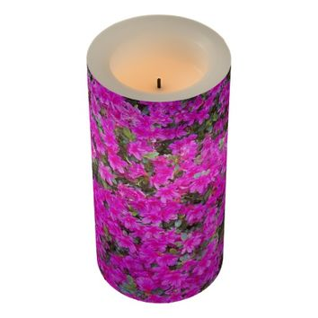 Pink Rhododendron Blossoms Floral Photo Flameless Candle