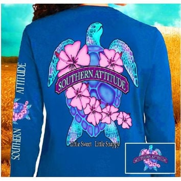 Southern Attitude Snappy Sea Turtle Flower Blue Long Sleeve T-Shirt