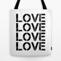LOVE 1 Tote Bag by White Print Design