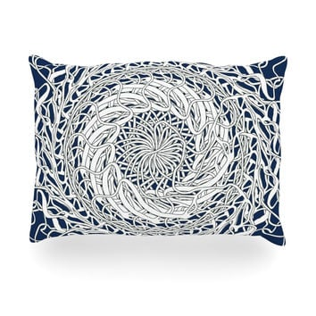 "Patternmuse ""Mandala Spin Navy"" Blue White Oblong Pillow"