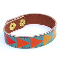 Leather Bracelet  Geometric triangles design by tovicorrie on Etsy