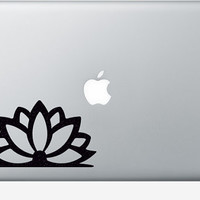 Lotus Flower Velvet Decal - Fabric Door Sticker - Yoga Window Decor - Teen Room Wall Art - buddha Laptop Decal - Flower Macbook Sticker