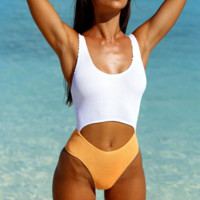 Summer New Fashion Stripe Contrast Color Vest One Piece Bikini Swimsuit