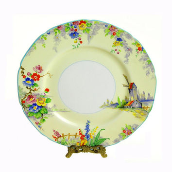 """Vintage Plate, W. H. Grindley, The Old Mill, Tunstall, England, 8 1/2"""""""