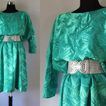 Vintage Dress Party Dress 1980s shinny Batwing Small Medium Large Teal Green Dress 80s One Size Dress Evening Dress Day Dress Work Dress