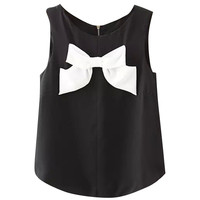 Black and White Bow Sleeveless Top