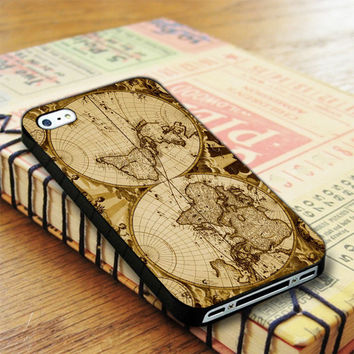 Nauctical Brown World Map iPhone 4 | iPhone 4S Case