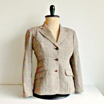 Vintage Tweed Blazer 1970s Brown Tailored Jacket by Plaisir Size Medium
