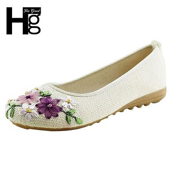 Women Flower Flats Slip On Cotton Fabric Casual Shoes Comfortable Round Toe