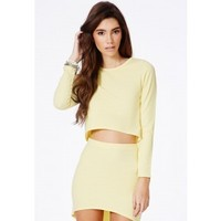 Missguided - Bibianka Lemon Crop Top With Curve Hem