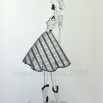 1950s Western Dress Fashion Illustration  / cowgirl art  / pencil art / original drawing / fashion art / home decor / art gift