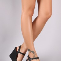 Ankle Strap Platform Wedge For Women By Bamboo | Shop Women's Fashion Triple Intertwine Strap Ankle Strap Platform Wedge A Platform Heels Ankle Strap Wedge Heels
