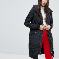 Noisy May Tall Hooded Padded Coat at asos.com