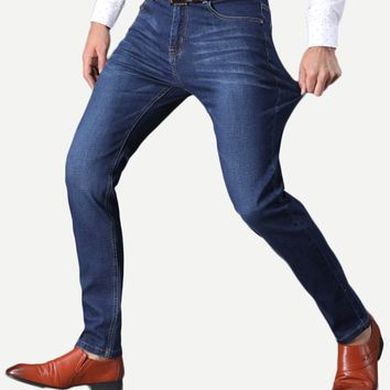 Men Washed Straight Jeans