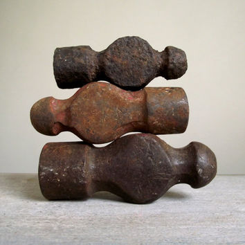 Vintage Ball Peen Hammer Heads / Vintage Iron Blacksmith Tools / Instant Tool Collection Set of 3 / Industrial Decor / Vintage Supplies