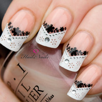 French Nail Art Tips Wrap Stickers Black Daisy inc by Hailthenails