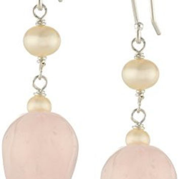 Sterling Silver Rose Quartz Heart and White Freshwater Cultured Pearl Drop Earrings