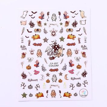 1 Sheet Halloween 3D Stencil Nail Sticker Owl Bat Pumpkin Ghost Nail Art Adhesive Transfer Decoration For Manicure Tips