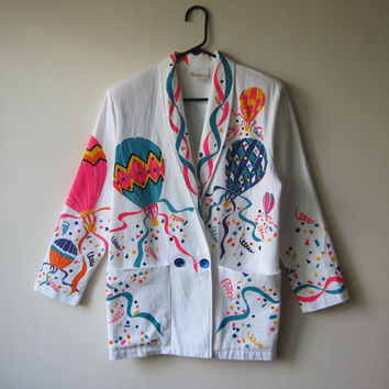 80s Super Kitsch Neon Hot Air Balloons! Beaded White Blazer Jacket -- Circus Festival Carnival Inspired Fashion
