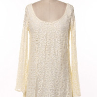 BELL SLEEVE LACE A-LINE DRESS.