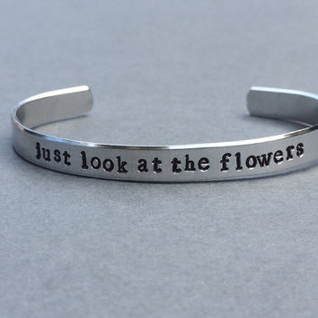 The Walking Dead - Just Look At The Flowers - Zombies Hand Stamped Aluminum Bracelet
