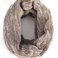 Striped Thick Cowl Scarf with Gold Flecks - Brown or Black