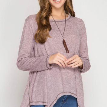 Long Sleeve Two-Tone Hacci Top