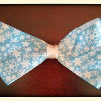 """3"""" winter snow christmas holiday bow for babies children toddler girls in blue with snowflakes"""