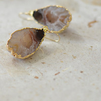Entire Geode Earrings, Electroplated in 24k Gold, Agate Geode Earrings